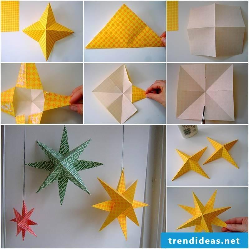 make Christmas decorations - fold stars