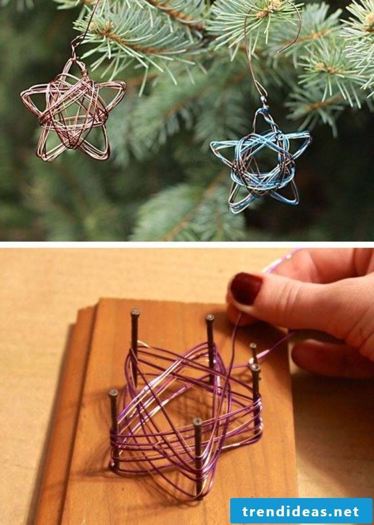 Make Christmas stars out of wire - instructions