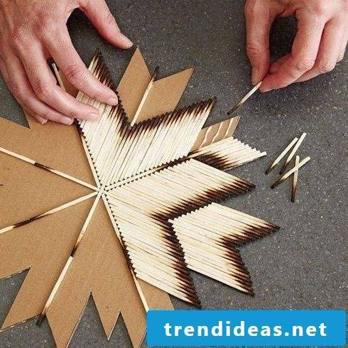 Make Christmas star with matches