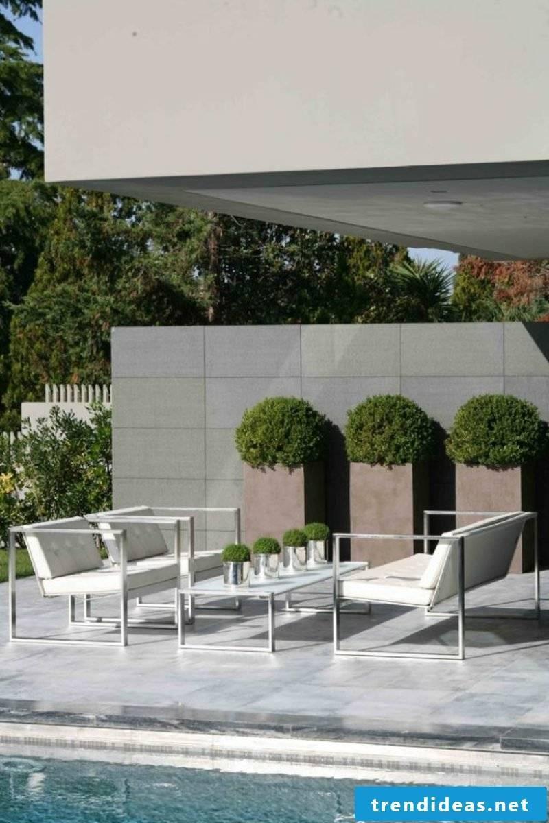 concrete planter pool terrace set up