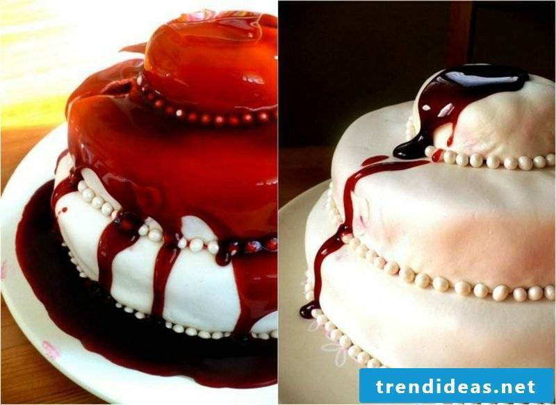 Halloween decoration cake decorated with fake blood