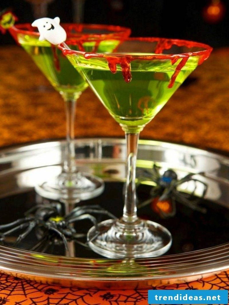 Martini glasses with artificial blood edge