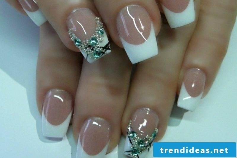 Gel nails natural French deco rhinestones