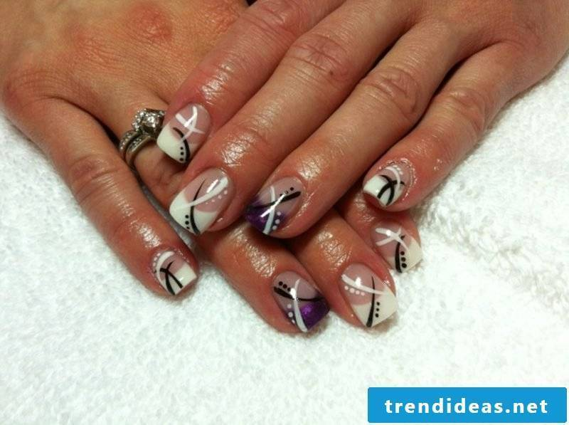 French nails with gel white and purple gorgeous look