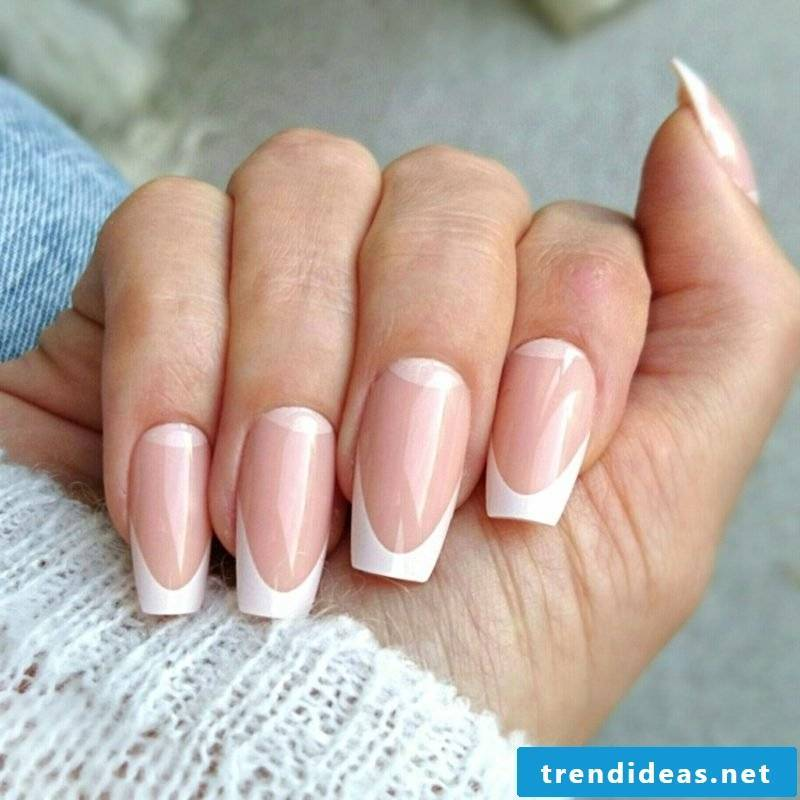French nails with nail stencils make them classic