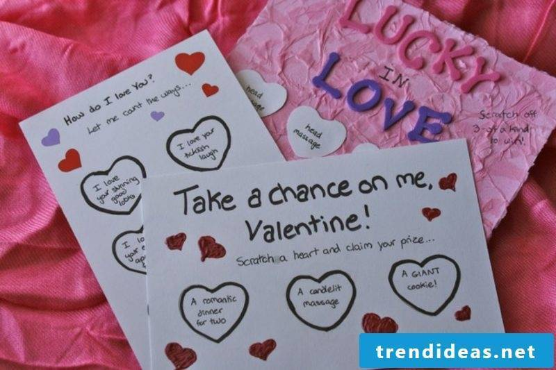 Make valentine's day gifts by yourself. Make a scratch card