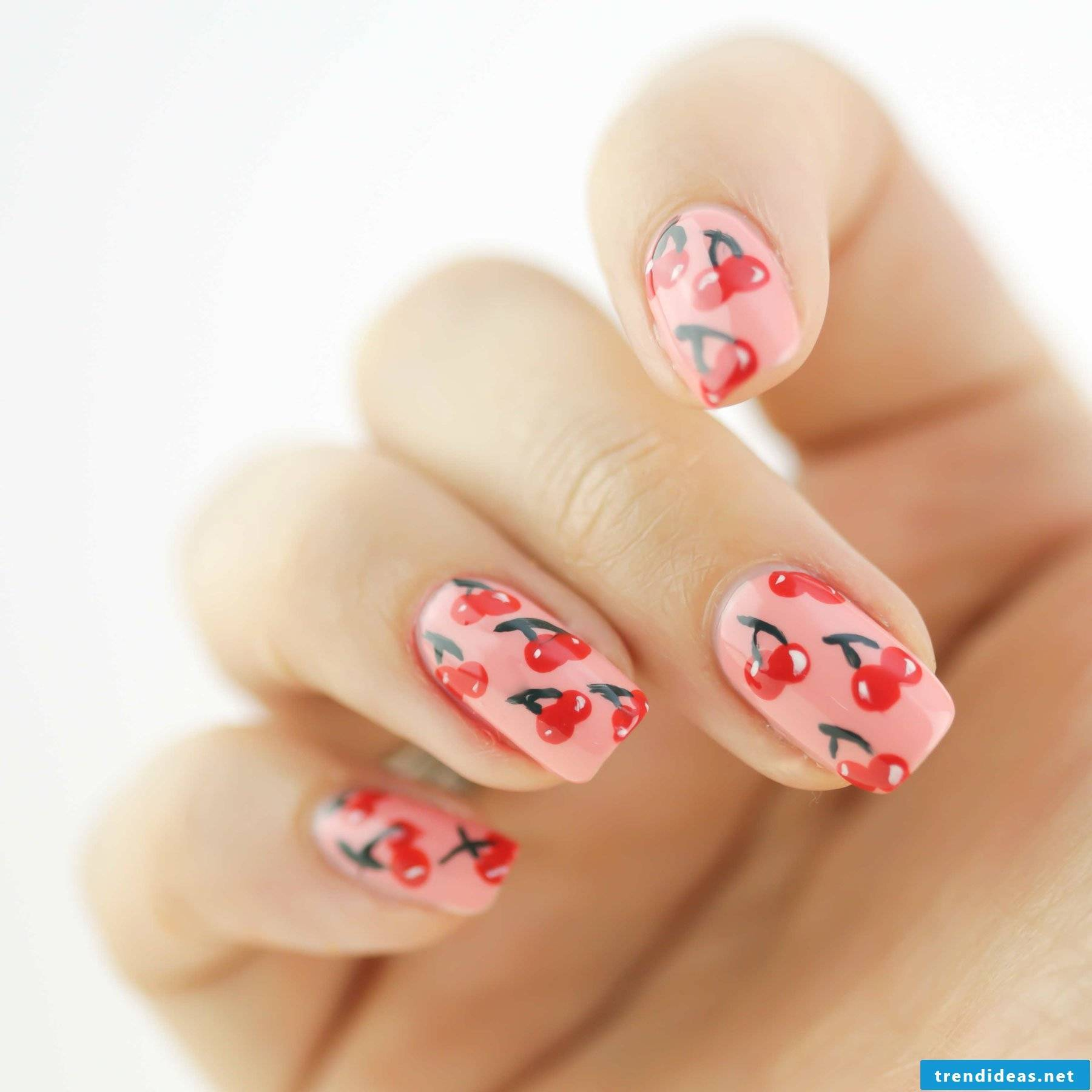 Beautiful nail design with cherries, brings mood every time