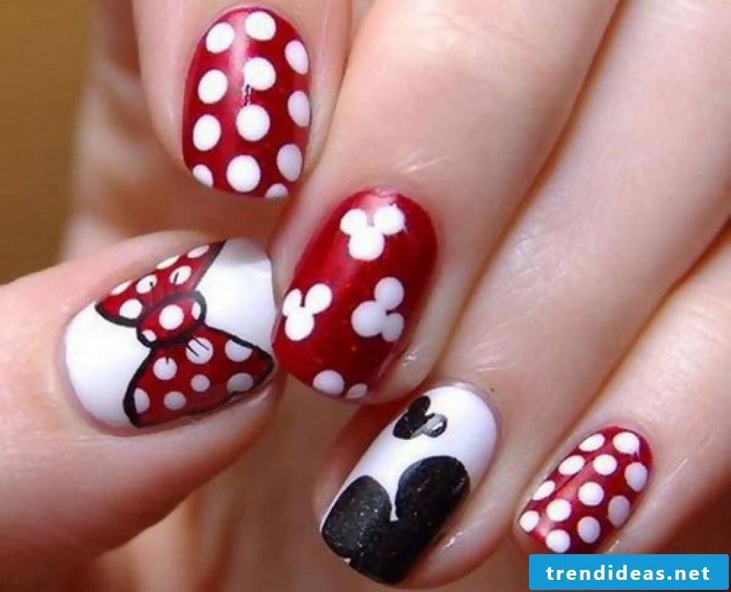 Minnie Mouse nail design, homemade