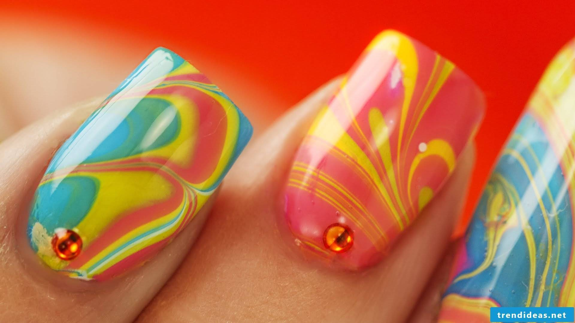 Marbling - nail art design Summer 2016