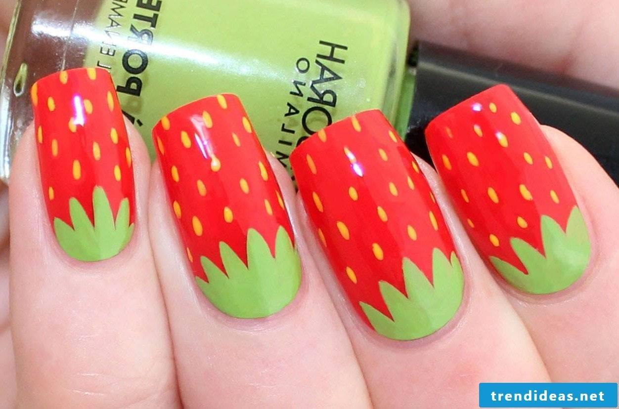 Strawberry pattern for funny fingernails design