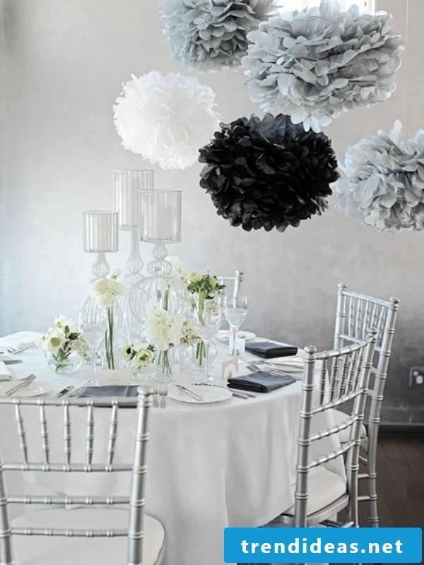 Pompons as a decoration