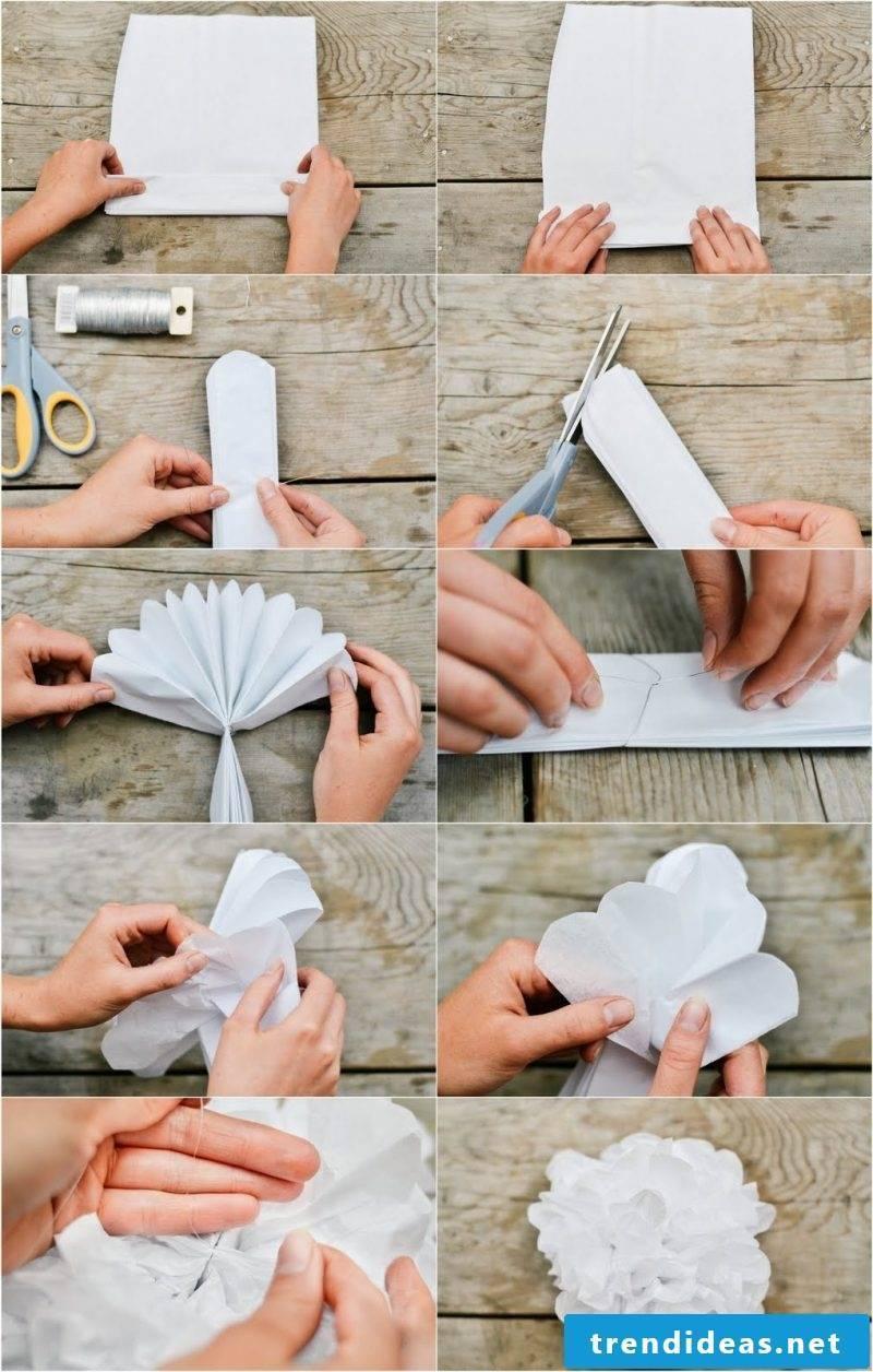 Make pompoms out of napkins: Instructions