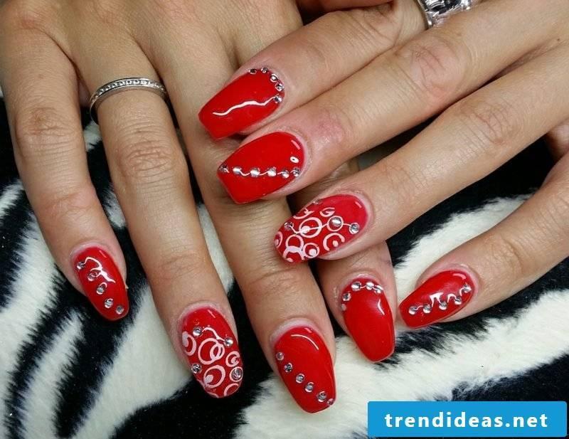 red gel nails original decoration