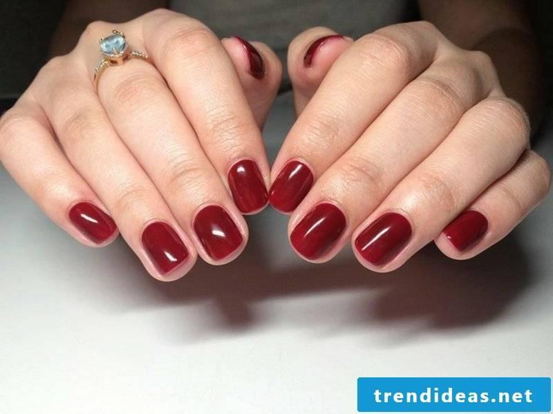 elegant gel nails in red