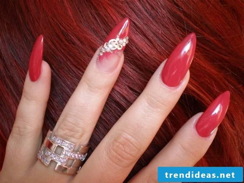 long gel nails in red elegant look