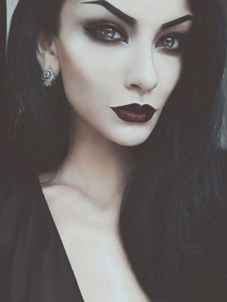 Make-up after Halloween costume vampire woman