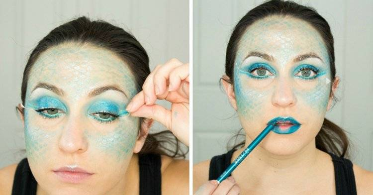great Halloween costumes mermaid face painting templates
