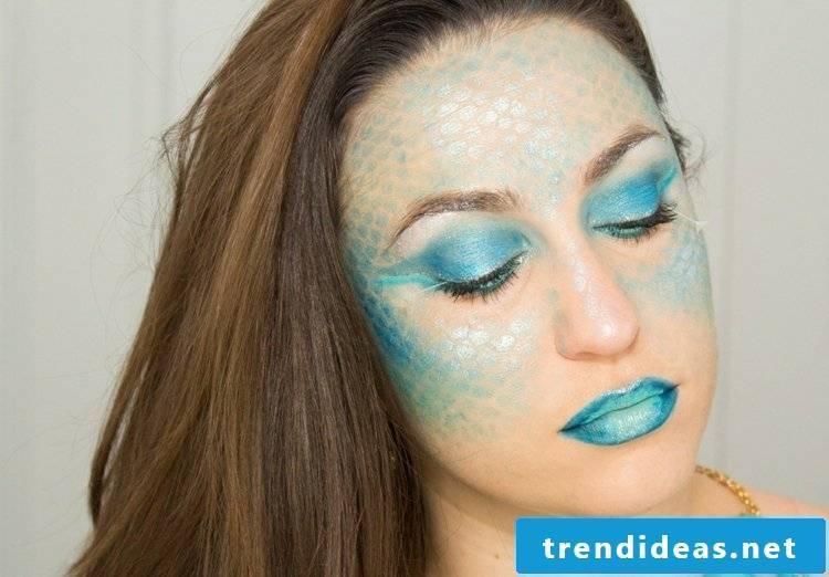 Face painting templates Halloween costume mermaid