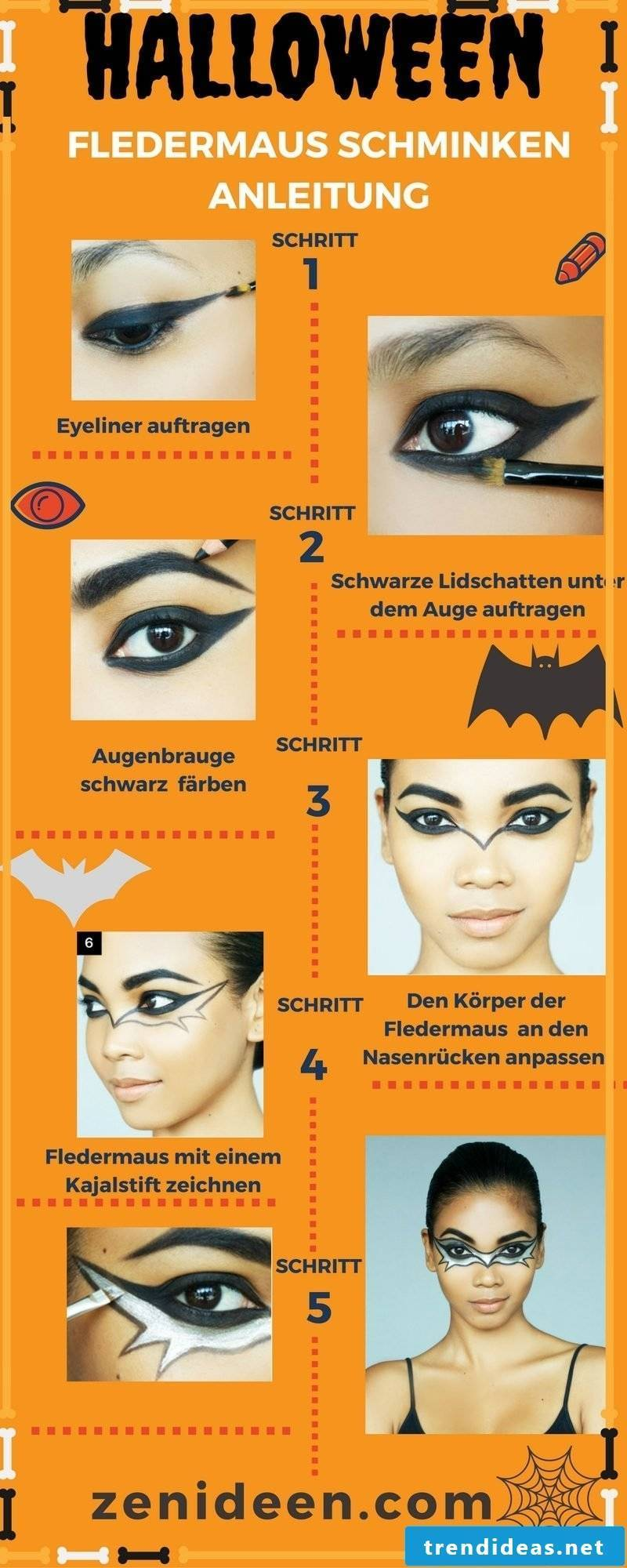 Bat make-up Halloween instructions