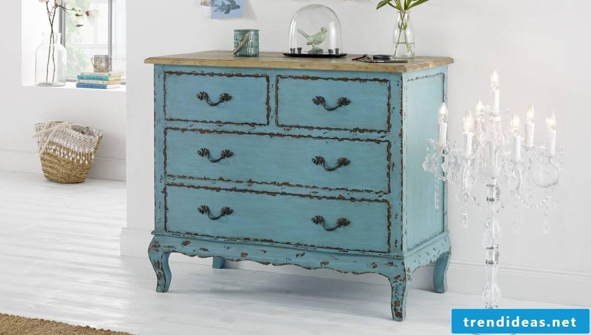 Vintage furniture itself make dresser light blue