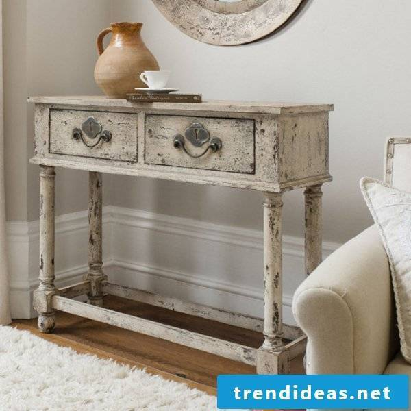 Vintage furniture itself make console table with two drawers Shabby Style