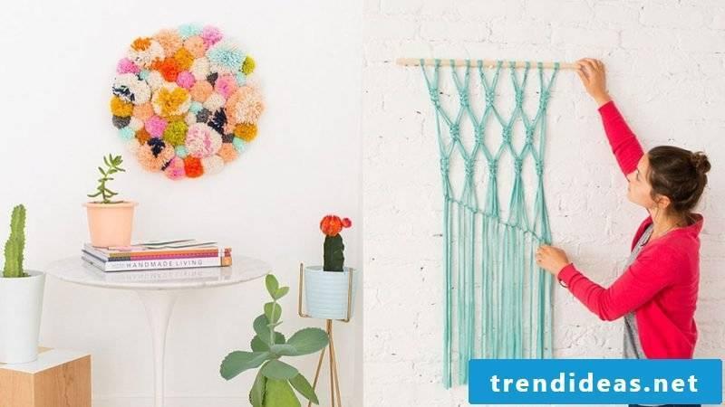 Wall decal self make DIY design with wool