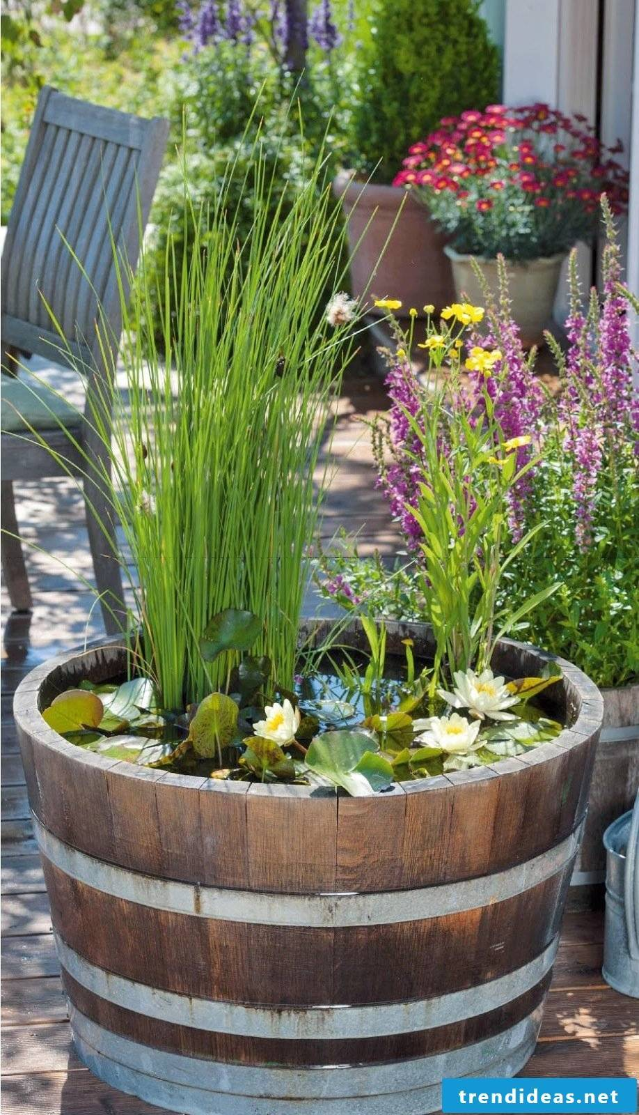 DIY mini-pond in the pot and many more great garden ideas for little money can be found here