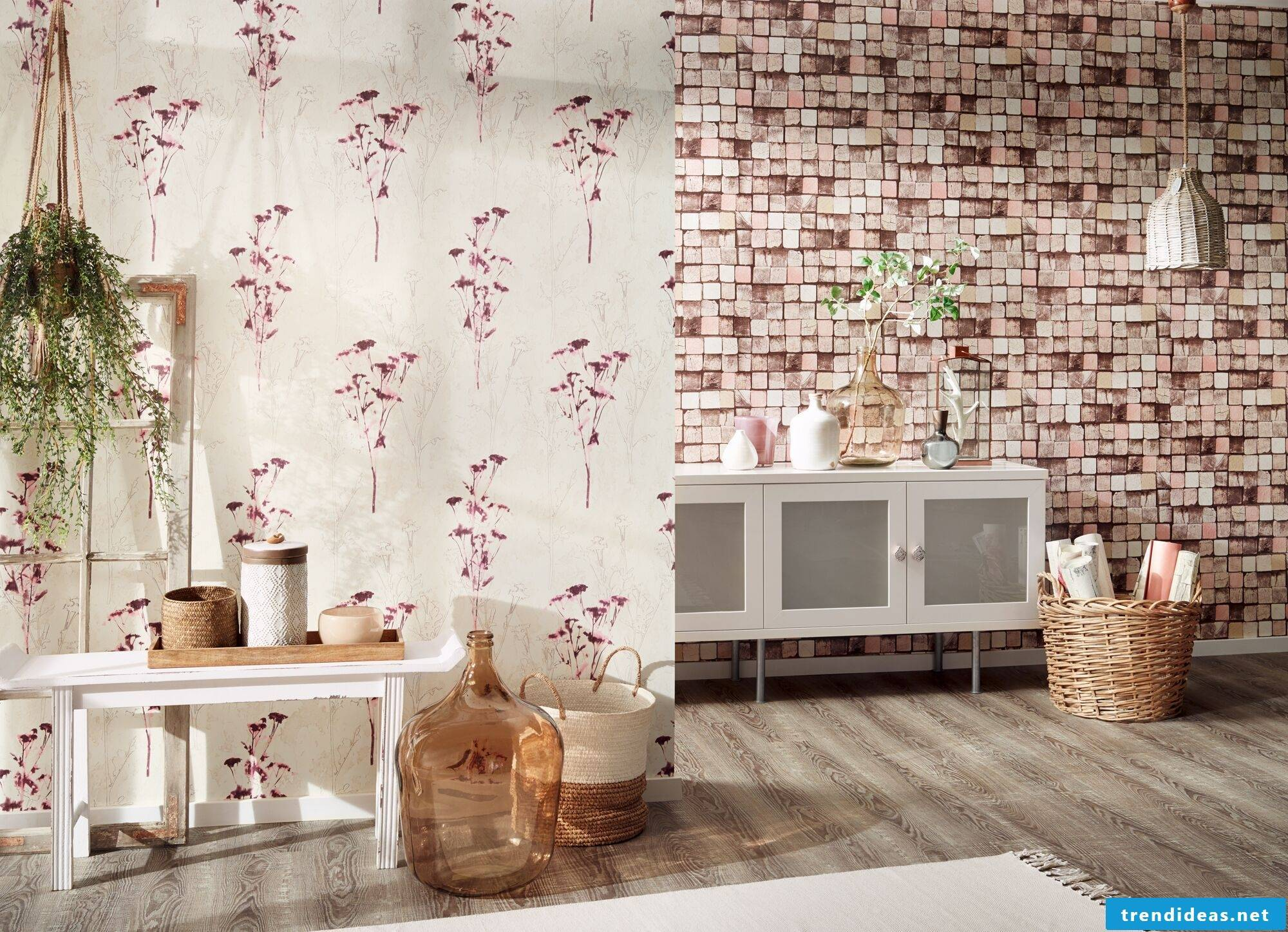 Wooden wallpaper photo wallpaper Shabby Chic Style - Home Decor