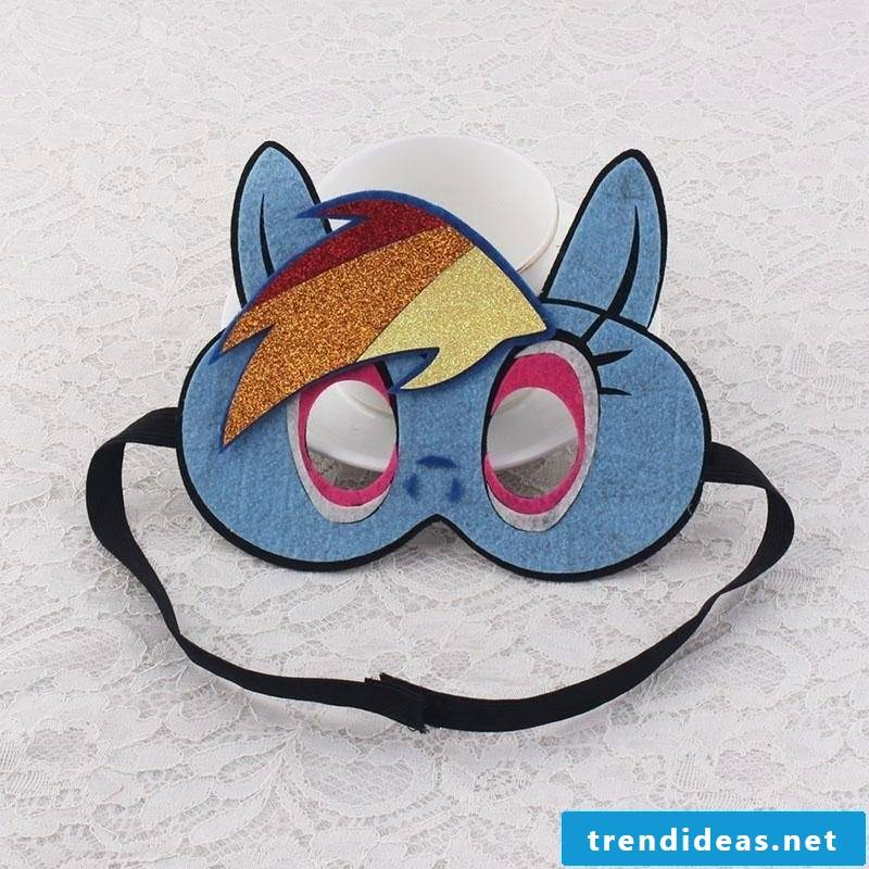 cute animal masks tinker in blue color with funny glitter ornament