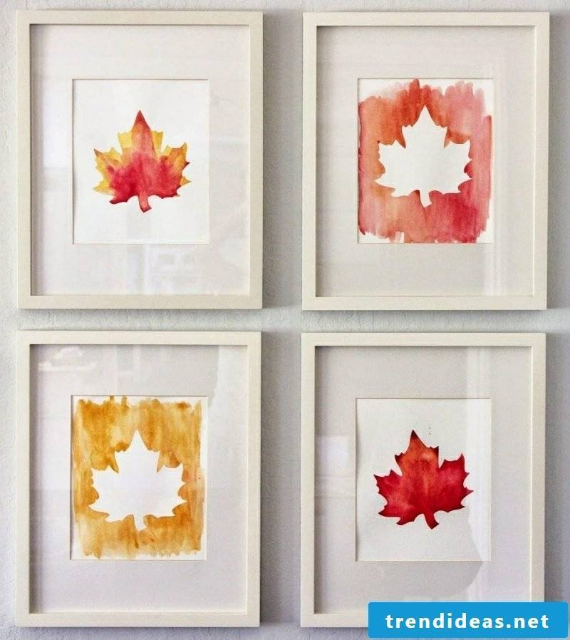Autumn decoration wall pictures leaves as a template