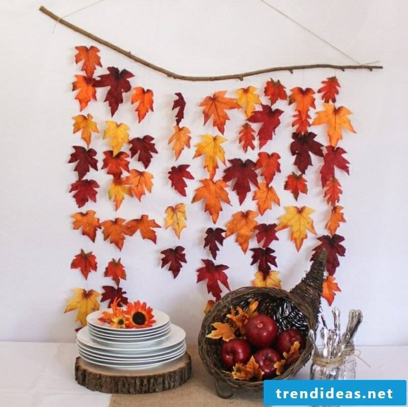 Autumn decoration garlands of colorful leaves wall