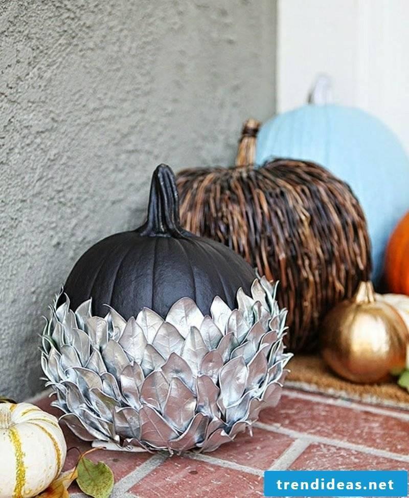 Autumn decoration with pumpkins decorating the terrace