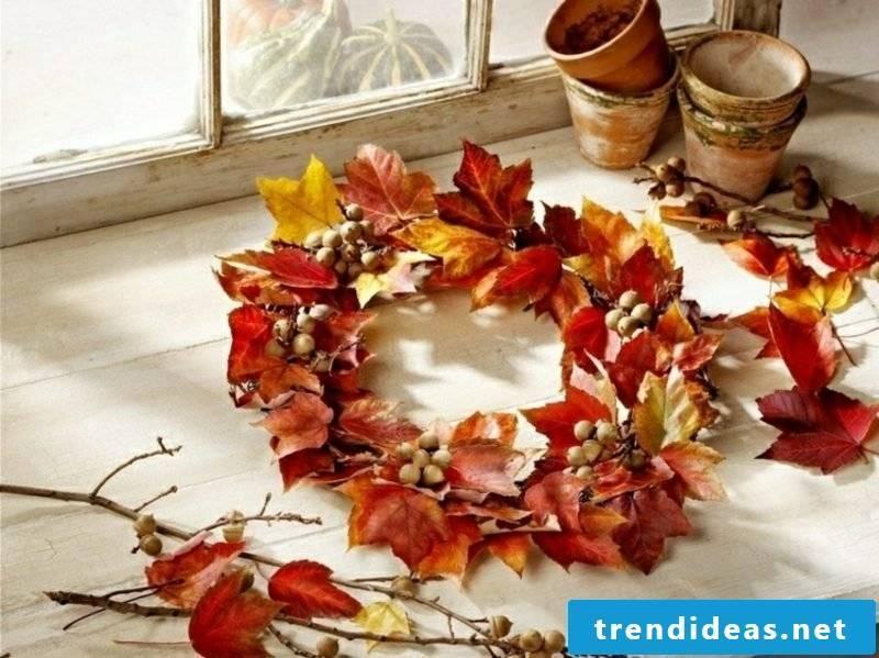 Autumn decoration beautiful wreath of autumn leaves