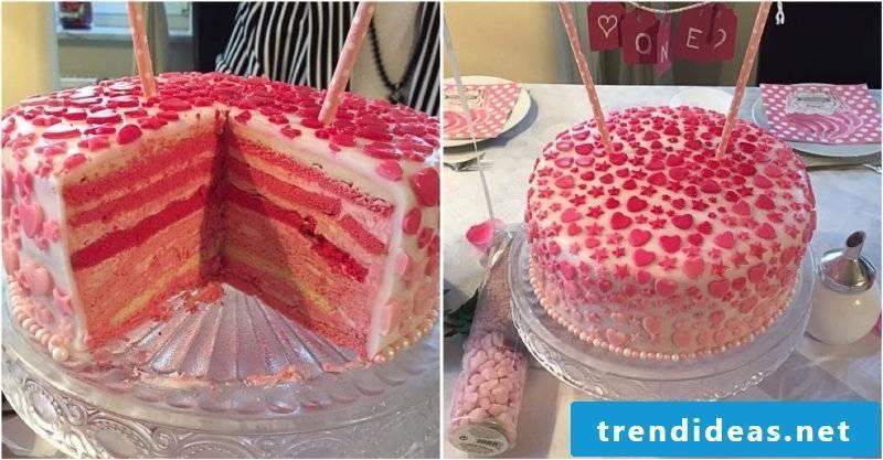 birthday cakes pink