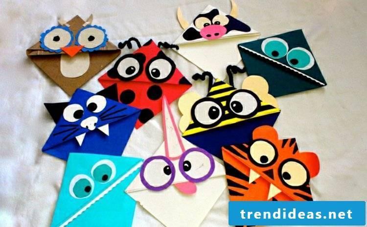 Bookmark tinker animals paper figures