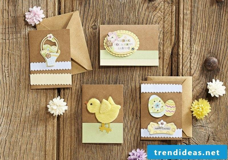 Easter cards with yellow chicken and egg basket on the front page