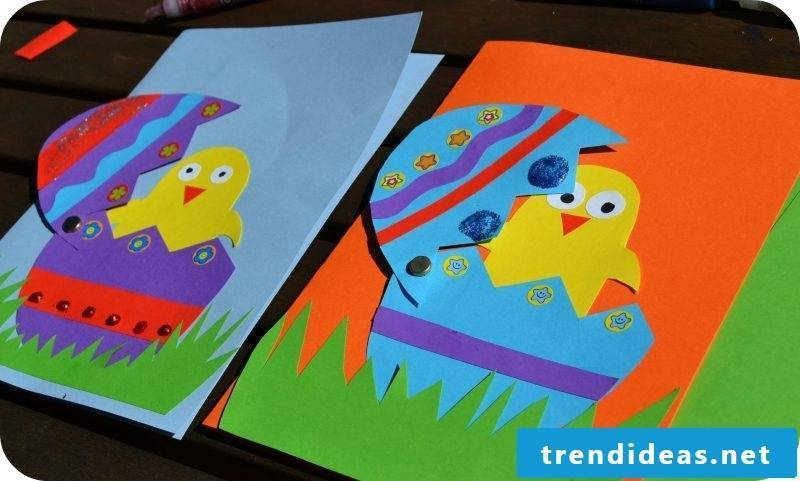 colorful Easter cards with glued chicken motifs on the front