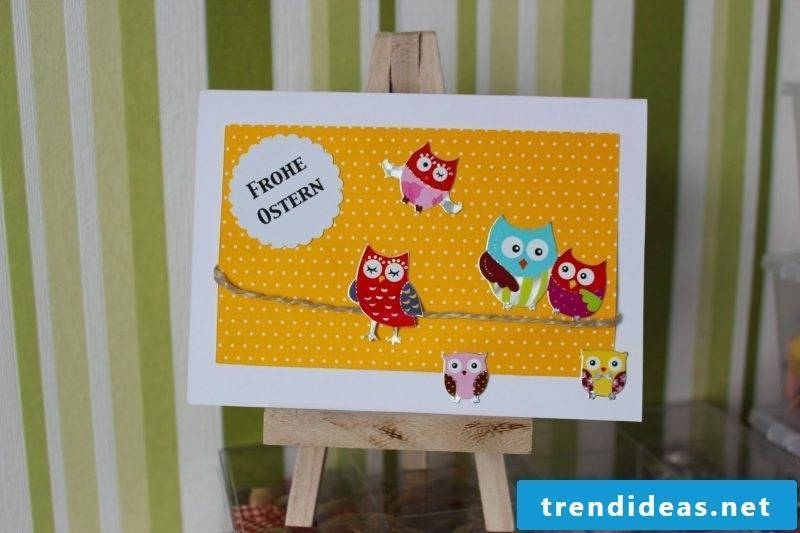 Easter cards on large clay paper in yellow with white dots