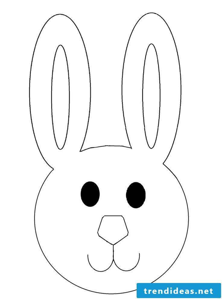 Easter cards print template for making in the shape of the rabbit