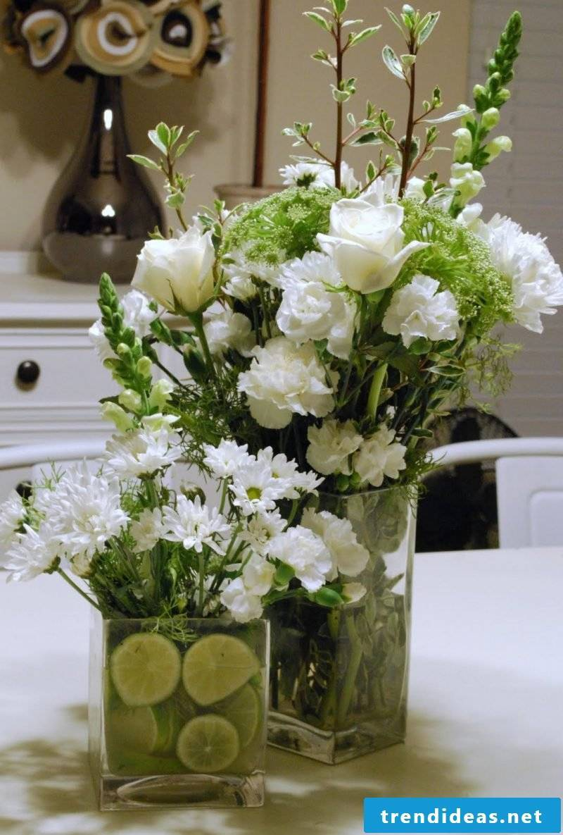 floral arrangements and white