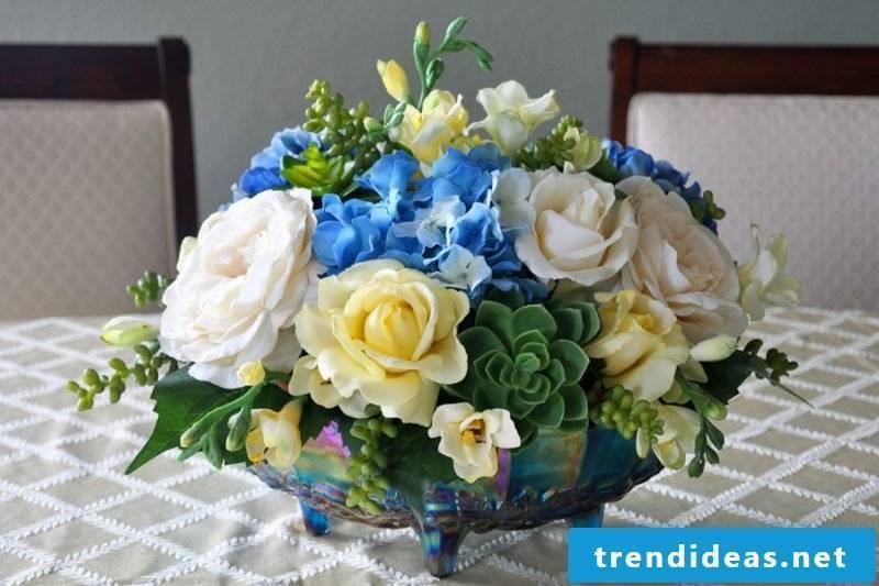Floral arrangements blue
