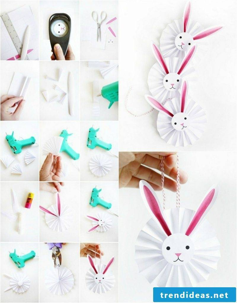 Paper bunnies for Easter tinker picture tutorial