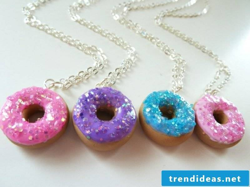 Jewelry make necklaces from modeling clay
