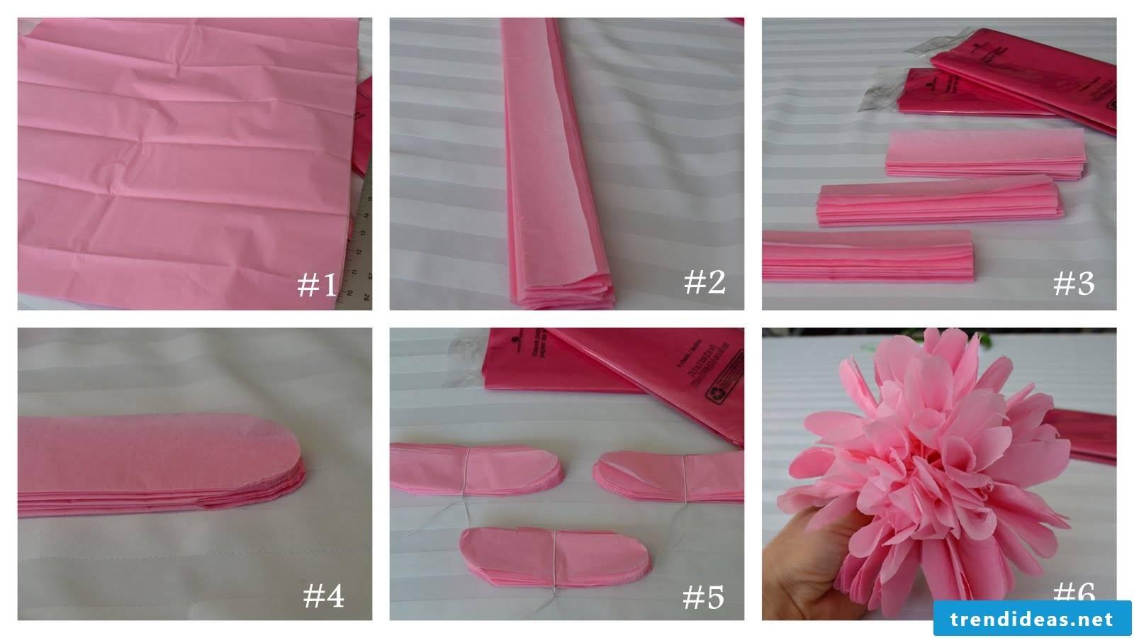 Fold paper and make pompoms