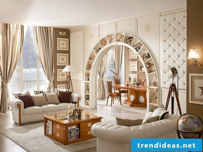 Living room design in the maritime furnishing style