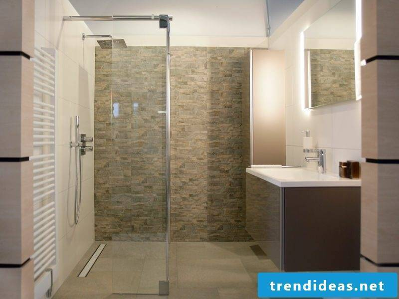 modern design bathroom accent wall stone walled shower