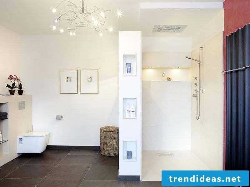 Bathroom bright brick shower