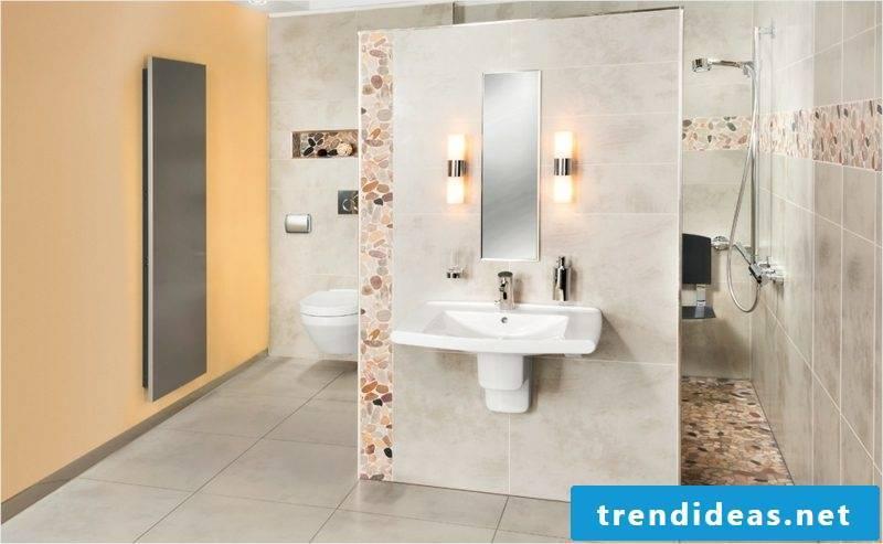 modern bathroom with brick shower