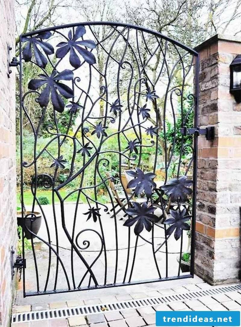 Metal garden gates wrought leaves