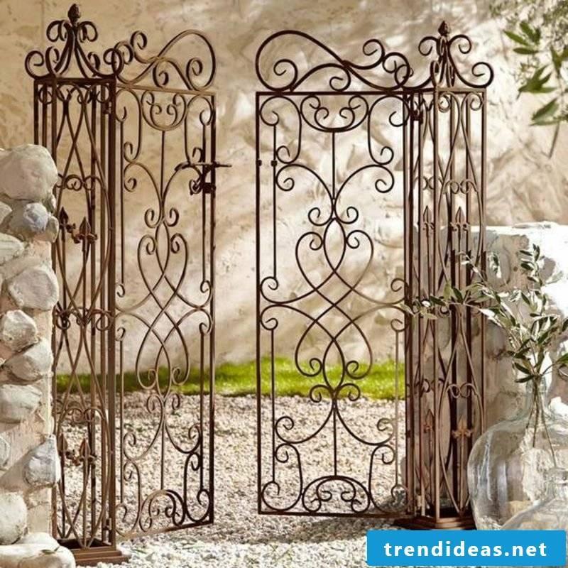 Metal garden gates two wings wrought iron garden stone wall